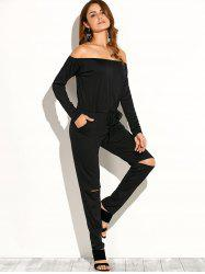 Off Shoulder Long Sleeve Cut Out Jumpsuit