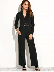 Long Sleeve Low Cut Jumpsuit - BLACK