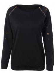 Zippered Crew Neck Pullover Sweatshirt -