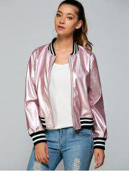 Zippered Striped Bomber Jacket - PINK