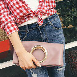 PU Leather Snap Closure Clutch Bag