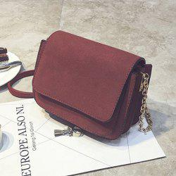 Chain PU Leather Covered Closure Crossbody Bag - RED VIOLET