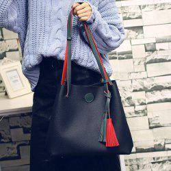 Color Spliced Tassels Magnetic Closure Shoulder Bag