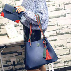 Color Spliced Tassels Magnetic Closure Shoulder Bag - DEEP BLUE
