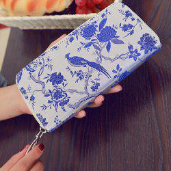 Color Block Bird Pattern Embroidery Wallet - BLUE