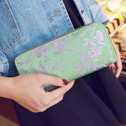 Color Block Bird Pattern Embroidery Wallet - LIGHT GREEN