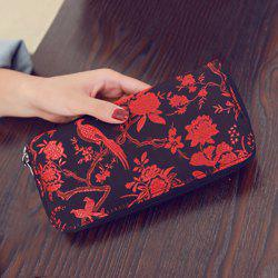 Color Block Bird Pattern Embroidery Wallet - RED
