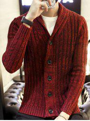 Shawl Collar Ribbed Knit Cardigan - WINE RED
