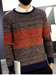 Round Neck Color Block Ribbed Knitted Sweater -