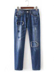 Patched bruts lisières Pencil Jeans - Denim Bleu
