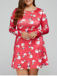 Snowman Print Long Sleeves Swing Dress
