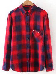 Button Up Pocket Loose Checked Shirt -