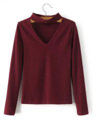 Chocker Cut Out Knitted Sweater -