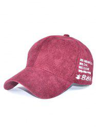Outdoor Adjustable Corduroy Baseball Hat - WINE RED