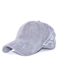 Casual Letter A Embroidery Corduroy Baseball Hat - GRAY