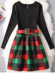 Plaid Zippered Patchwork Dress