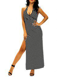Halter High Slit Striped Dress -