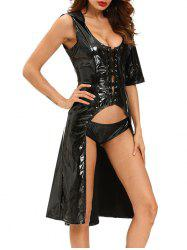 Lace-Up Shiny Cosplay Suit Halloween Costume -