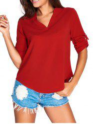 V-Neck Asymmetrical Loose-Fitting Blouse