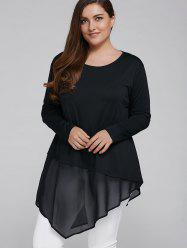 Plus Size Chiffon Patchwork Asymmetrical Blouse