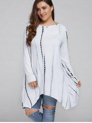 Plus Size Asymmetrical Cut Out Blouse - WHITE