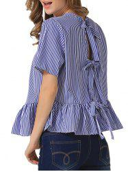 Loose Back Tie Stripe Flouncing Blouse