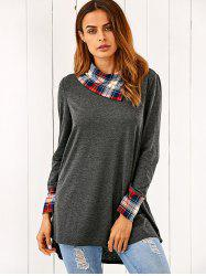 Side Collar Plaid Trim Blouse