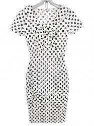 Slimming Bowknot Polka Dot Pencil Dress