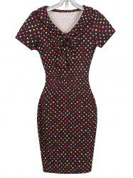 Slimming Bowknot Colorful Polka Dot Pencil Dress