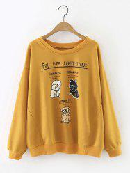 Loose Puppy Letter Sweatshirt - GINGER L