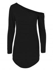 Skew Neck Long Sleeve Short Dress - BLACK
