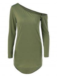 Skew Neck Long Sleeve Short Dress - ARMY GREEN