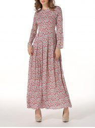 Round Neck Long Sleeve Floral Maxi Dress - COLORMIX