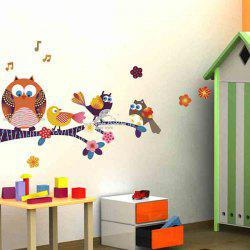 Stickers Chambre Cartoon Owl animal amovible Enfants Mur - Coloré