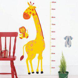 Cartoon Giraffe Height Measure Animal Wall Decals Kids Room