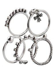 Vintage Alloy Crucifix Beads Cuff Rings -