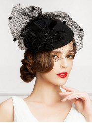 Rhinestone Velvet Floral Mash Cocktail Hat - BLACK
