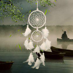 Double Circular Net With Feathers Dreamcatcher Wall Hanging Decor