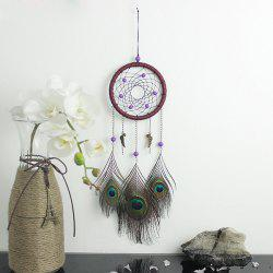 Circular Net With Peacock Feathers Dreamcatcher Wall Hanging Decor