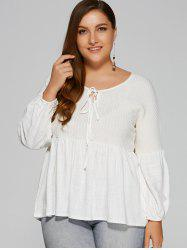 Plus Size Lantern Sleeve Bowtie Ruffled Sweater - WHITE