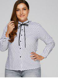 Plus Size Flounced Bowtie Polka Dot Blouse - WHITE 5XL