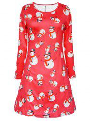 Long Sleeve Snowman Snowflake Print Christmas Swing Dress