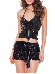 Plunge Sequined Tank Top With Mini Skirt Set