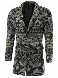 Geometric Pattern Lapel Single-Breasted Wool Coat