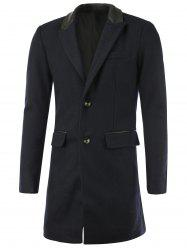 Faux Leather Splicing Lapel Single-Breasted Wool Coat -