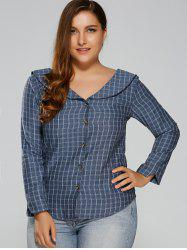 Plus Size Preppy Style Plaid Capelet Shirt