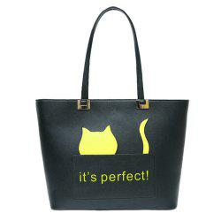 PU Leather Cat Letter Print Shoulder Bag -