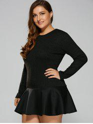 Plus Size Long Sleeve Flounced Mermaid Dress