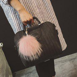 Letter Pompon PU Leather Handbag -