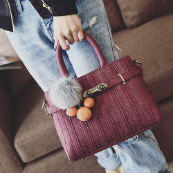 Stitching Pompon PU Leather Tote